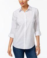 Charter Club Roll-Tab Print Shirt, Created for Macy's