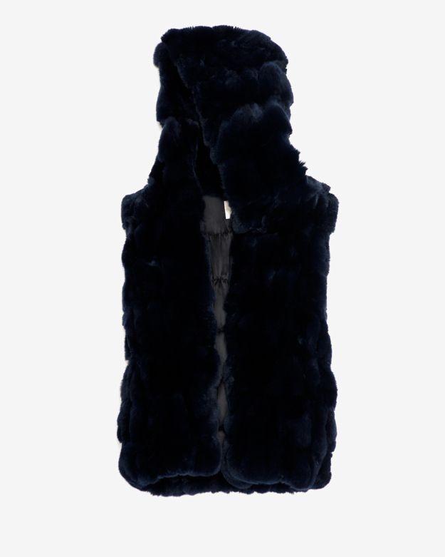 Yves Salomon Pieced Rex Rabbit Hooded Vest: Navy