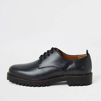 River Island Black chunky sole leather derby shoes