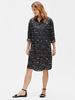 Eileen Fisher Silk Organic Cotton Dash Shirtdress - Medium (M)