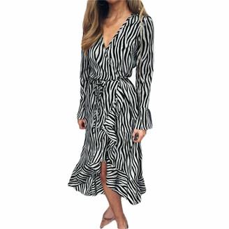 OKHGF Women's Dresseslong Dresses Women Zebra Print Beach Dress Casual Long Sleeve V Neck Ruffles Party Dress -C_Mwomen'S Dresses