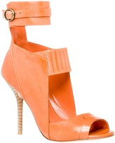 Max Studio Essay - Waxed Leather Ankle Wrap Cut Out Sandals
