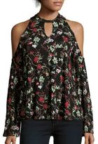 Romeo & Juliet Couture Floral Printed Cold-Shoulder Top