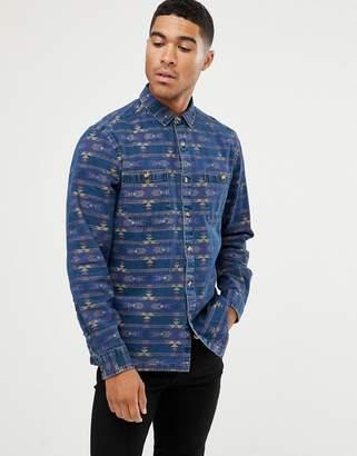 Asos Design DESIGN denim overshirt with geo-tribal shirt-Blue