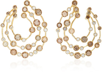 Ruth Grieco 18K Brown, Gold and White Diamond Earrings