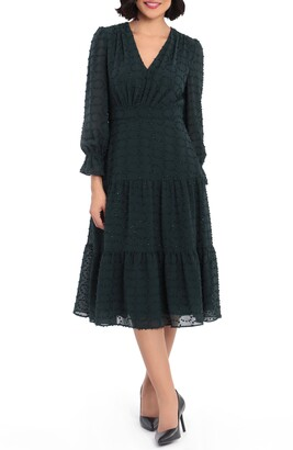 Maggy London Glitter Clip Dot Tiered Long Sleeve Midi Dress