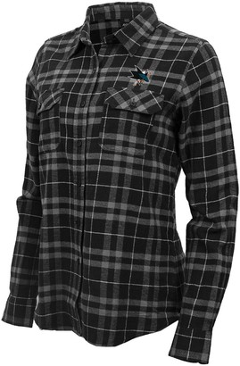 Antigua Women's Black/Gray San Jose Sharks Stance Plaid Button-Up Long Sleeve Shirt