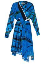 Preen by Thornton Bregazzi Seymour grid-print silk and velvet-devoré dress