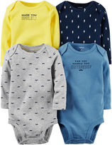 Carter's 4-pk. Long-Sleeve Mustache Bodysuits - Baby Boys newborn-24m