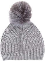 Mint Velvet Studded Detail Pom Pom Hat, Light Grey