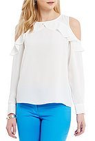 CeCe Long Sleeve Ruffled Cold Shoulder Blouse