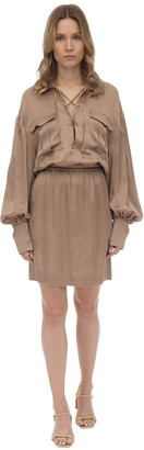 L'Autre Chose Satin Mini Dress W/ Balloon Sleeves