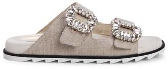 Roger Vivier Viv Crystal Buckle Linen Slide Sandals