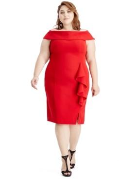 SL Fashions Plus Size Off-The-Shoulder Sheath Dress