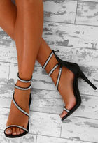 Pink Boutique Hollywood Hottie Black Patent Diamante Embellished Heels