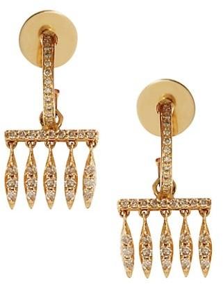 Ileana Makri Grass 18K Yellow Gold & Brown Diamond Dewdrops Charm Huggie Hoop Earrings