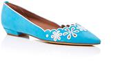 Tabitha Simmons Turquoise Kidsuede Daisy Chain Flats