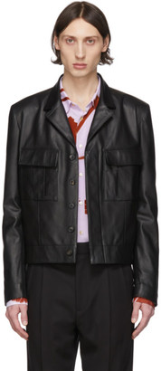Paul Smith Black Leather Military Jacket