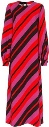 Marni stripe print long sleeve mid-length dress