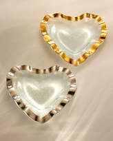 "Annieglass Ruffle Gold 8"" Heart Bowl"