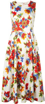 Carolina Herrera Digital Flowers Flared Midi Dress
