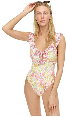 J.Crew Ruffle Keyhole Swimsuit In Micro Meadow Print (Pink/Yellow Combo) Women's Swimsuits One Piece