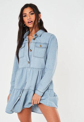 Missguided Blue Long Sleeve Tiered Denim Smock Dress