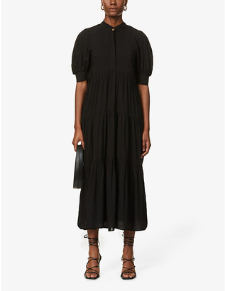 NEVER FULLY DRESSED Tiered woven maxi dress