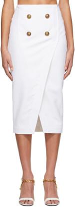 Balmain White Serge Wrap Skirt