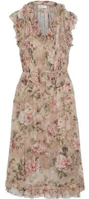 Zimmermann Ruffled-trimmed Floral-print Silk-chiffon Midi Dress