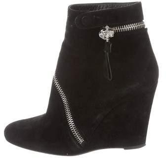Alexander McQueen Suede Wedge Ankle Boots