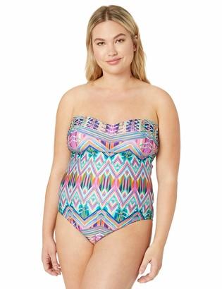 Kenneth Cole Reaction Women's Plus Size Bandeau One Piece Swimsuit