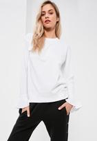 Missguided White Frill Cuff Sweatshirt