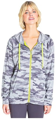 PJ Salvage Neon Pop Zip Sweatshirt (Grey) Women's Clothing