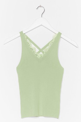 Nasty Gal Womens Play to Trim Lace Tank Top - Mint