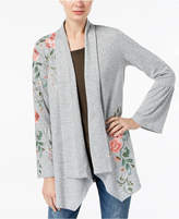 INC International Concepts I.n.c. Petite Embroidered Open-Front Cardigan, Created for Macy's