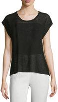 Joan Vass Cap-Sleeves Sheer Top, Black
