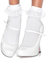 Leg Avenue White Lace Ruffle Ankle Socks
