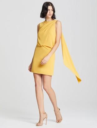 Halston Asymmetric Drape Dress
