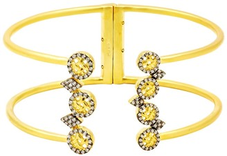 Freida Rothman 14K Yellow Gold Plated Sterling Silver CZ Lattice Motif Cuff Bracelet