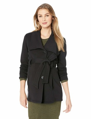 Motherhood Maternity Women's Maternity Shawl Collar French Terry Pea Coat with Removable Waist Tie