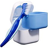 Medokare Denture Case with Basket, Brush and Travel Zip Case, Denture Bath for Soaking False Teeth, Retainer Container Mouth Guard Box, Denture Cup for Night Guard Invisalign Cleaner, Dentures Box