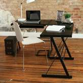 Walker Edison Glass Corner Computer Desk in Black