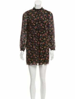 Saint Laurent Silk Floral Print Mini Dress Black