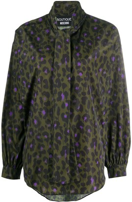 Boutique Moschino Leopard-Print Tied-Neck Blouse