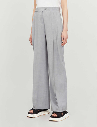 Topshop Pleated wide-leg high-rise stretch wool-blend trousers