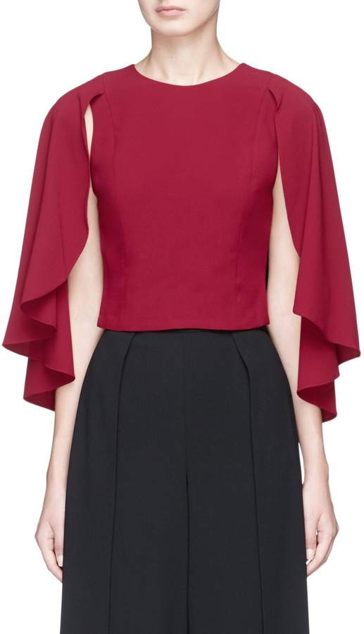 Alice + Olivia 'Babette' cape back overlay cropped crepe top
