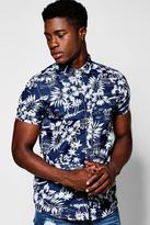 Boohoo Navy Hawaian Print Short Sleeve Shirt