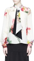 Lanvin Tie neck watercolour floral print silk top