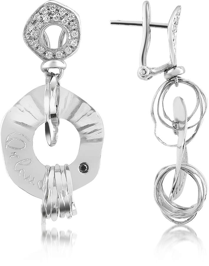 Orlando Orlandini Fashion - Diamond 18K White Gold Drop Earrings